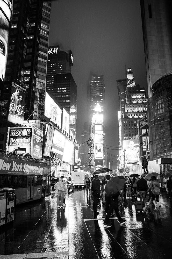 New York Bei Nacht Und Regen Schwarz Weiß Fotografie