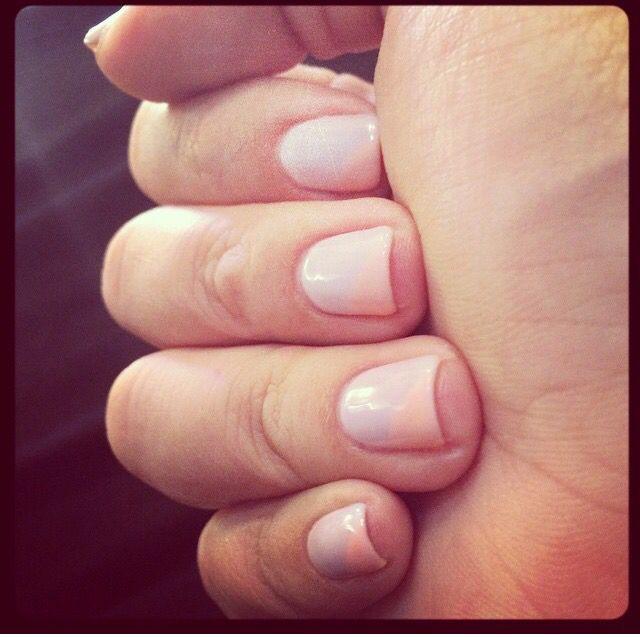 Purple & peach spring nails