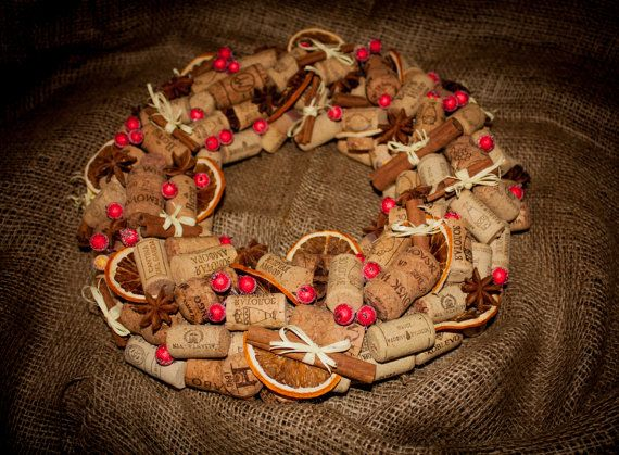 Рождественский венок из винных пробок от Lelitka на Etsy