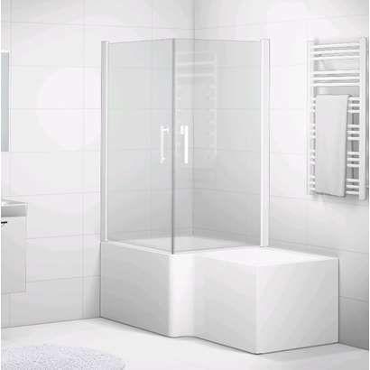 Svedbergs Forsa hjørnedusj badekar 85x85 cm hvit/svart/alu/krom profil, klart/frostet/tonet glass