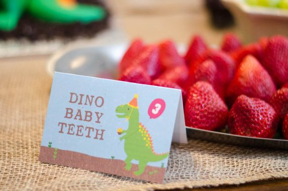 Dinosaur Party Food Signs by JustAddConfetti on Etsy