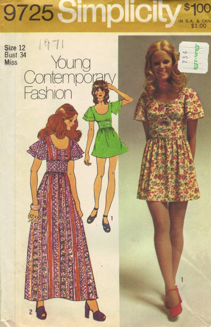 simplicity retro 70s sewing pattern hippie style dress