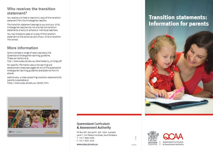 Transition statements: Information for parents
