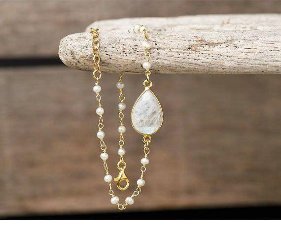 Moonstone Bracelet White Bracelet Gold Bracelet Dainty Bracelet Sterling Silver…
