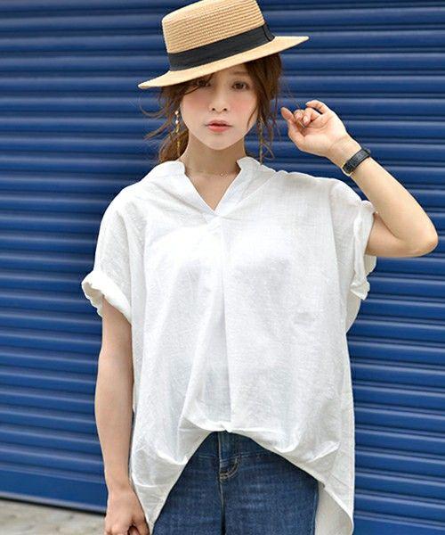 coca(コカ)の「裾タックふんわりスキッパーシャツ(シャツ/ブラウス)」 ホワイト