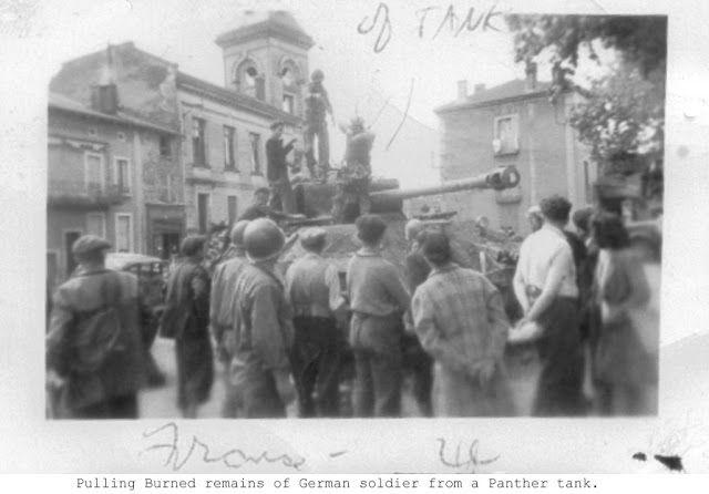 Captured Panther from the German 11th Panzer Ghost Division; Meximieux, France August 31, 1944