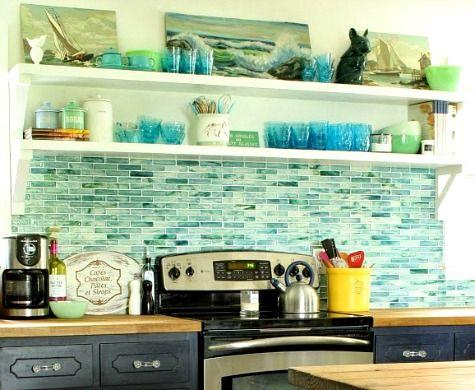 71 best images about coastal tile on pinterest mosaics for Blue kitchen backsplash ideas