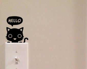 Pouncing Cat Light Switch Cute Vinyl Wall Decal by imprinteddecals