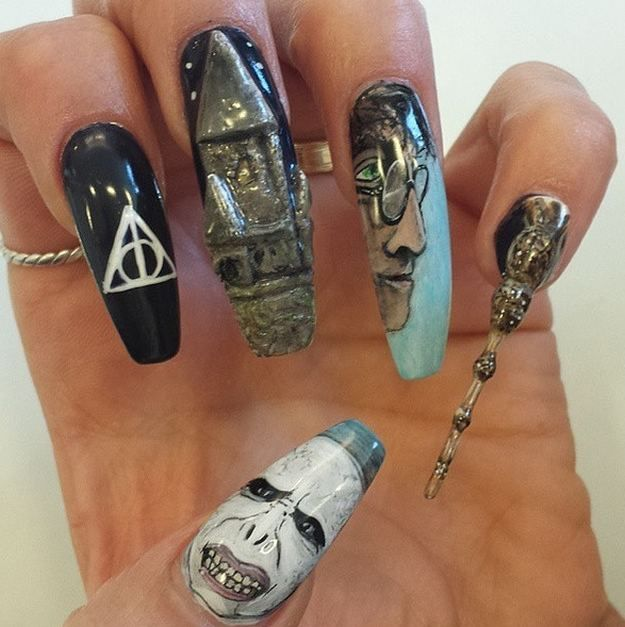 3D Harry And Voldemort | 17 Magical Harry Potter Character Nail Designs You…