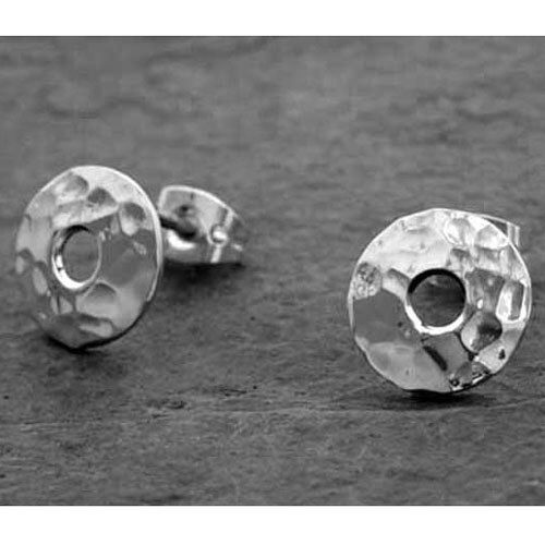 Hammered Silver Petite Off-Center Disc Earrings - Stud by EmilioSoteloJewelry on Etsy https://www.etsy.com/listing/225931264/hammered-silver-petite-off-center-disc