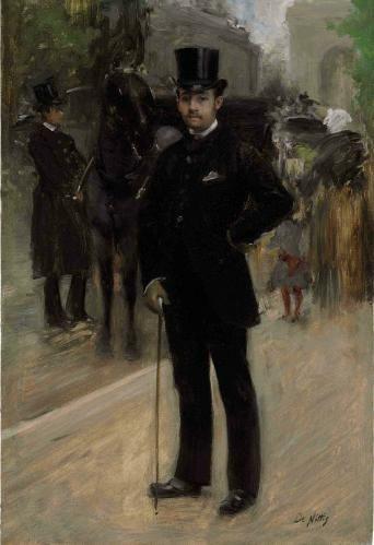 Giuseppe De Nittis (Italian, 1846-1884) Portrait of a Gentleman on a Parisian Boulevard