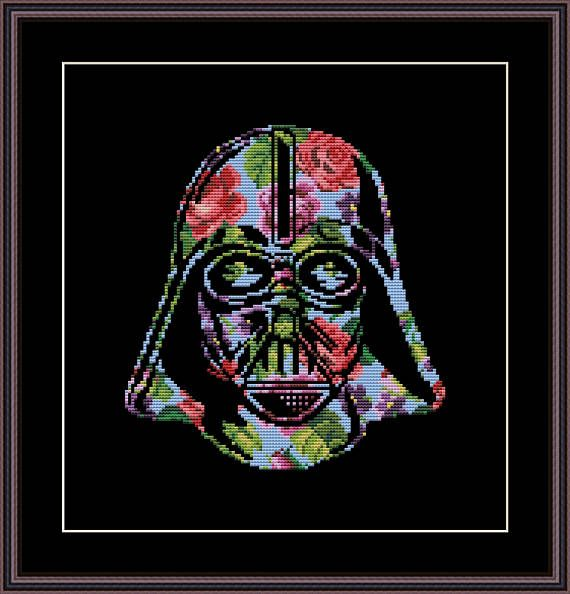Star Wars Cross Stitch PDF pattern Floral Darth Vader Helmet - Silhouette