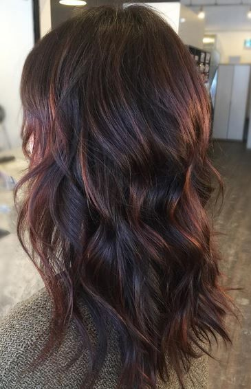 Brunettes – when you say you want warmer colors, this is what you mean! Loving these reddish warm tones on a dark brunette base. Color by Ayla Schaap.  Filed under: Hair Color, Hair Styles, Hair Styli