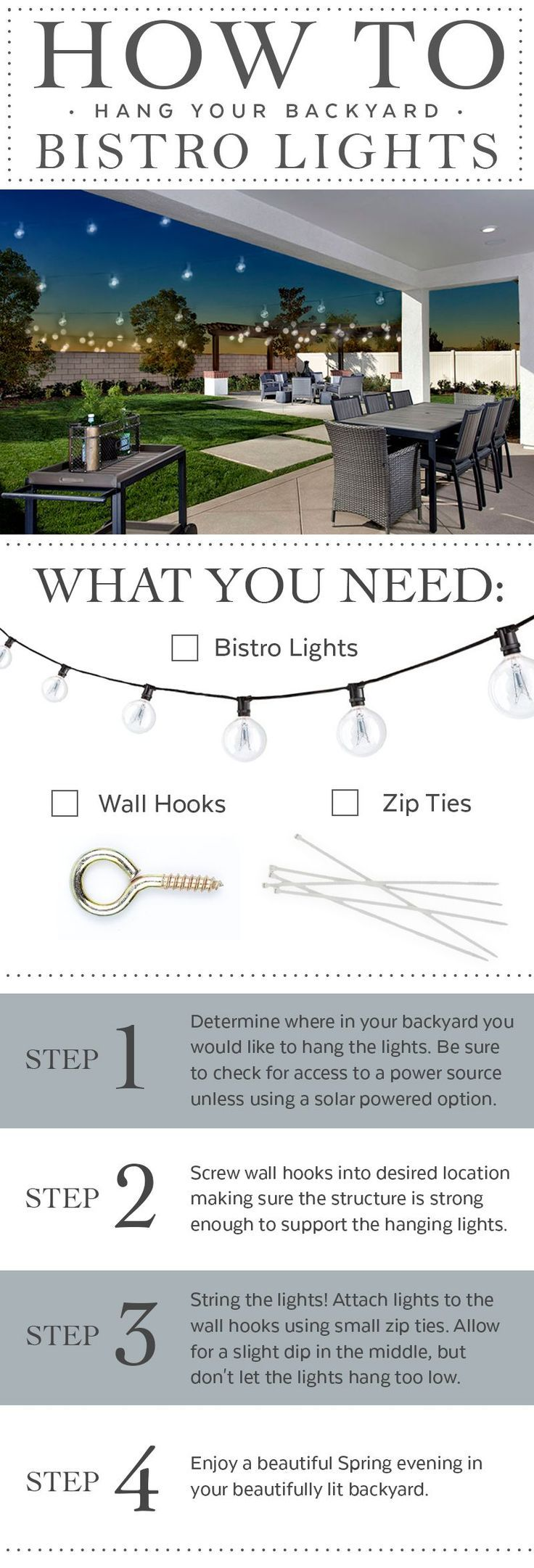 Bistro lights are a creative and cost effective way to decorate your backyard this Spring. | Pulte Homes