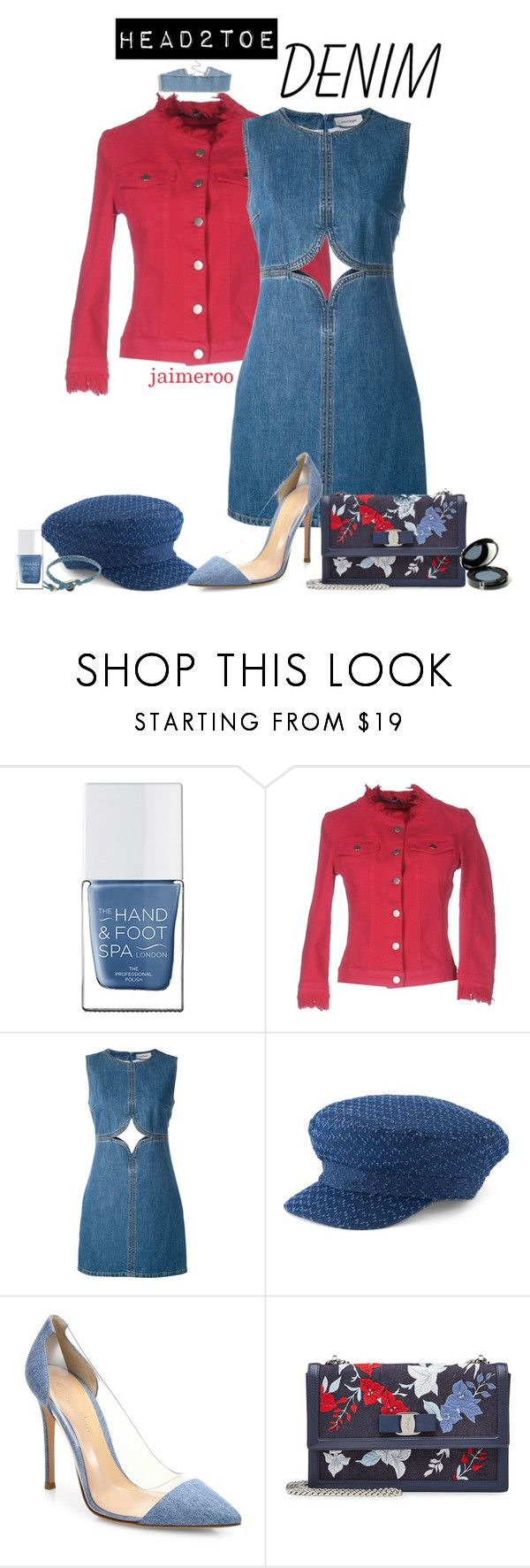 """""""head2toe DENIM"""" by jaimeroo ❤ liked on Polyvore featuring The Hand & Foot Spa, Pianurastudio, Courrèges, SONOMA Goods for Life, Gianvito Rossi, Salvatore Ferragamo and Nvey Eco"""