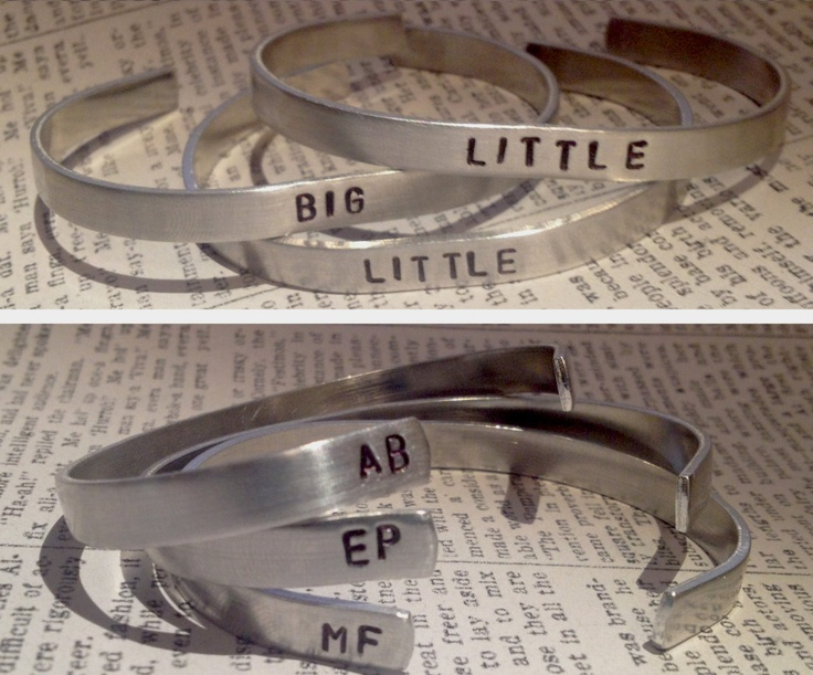 Custom Hand-Stamped Cuff. $11.00 each, via Etsy. Great idea for Big Little Gifts! Other listings available for GREEK LETTERS too!