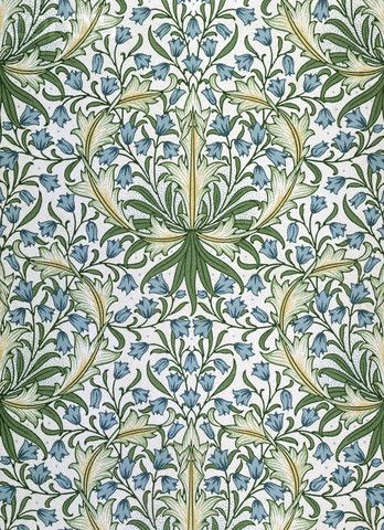 William Morris, wallpaper design with blue flowers within green foliage, date unknown