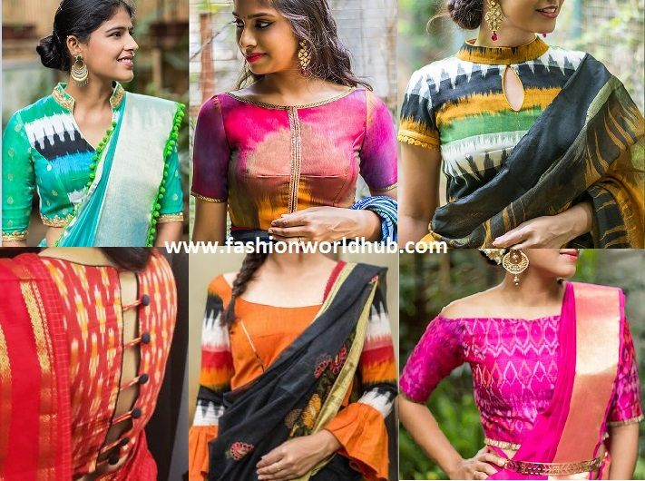 08d73b536adc9 rock your sarees with ikat blouses pink off shoulder blouses ikat blouse  black and green ikat