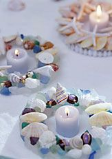 Beach & Seashell Candle Rings: Sea Shells, Crafts Ideas, Candles Rings, Shells Candles, Glasses Centerpieces, Glasses Crafts, Seashells, Glasses Candles, Sea Glasses
