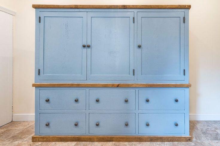 New   Handmade   Rustic Painted   Solid Wood   Larder Housekeeping Cupboard