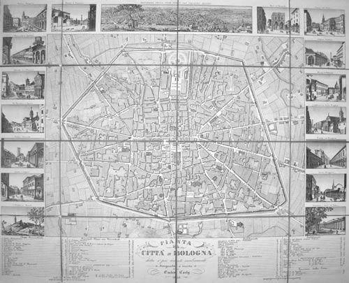 ENRICO CORTY  Pianta della Città di Bologna dietro ai più recenti cambiamenti, disegnata e incisa da Enrico Corty 1850