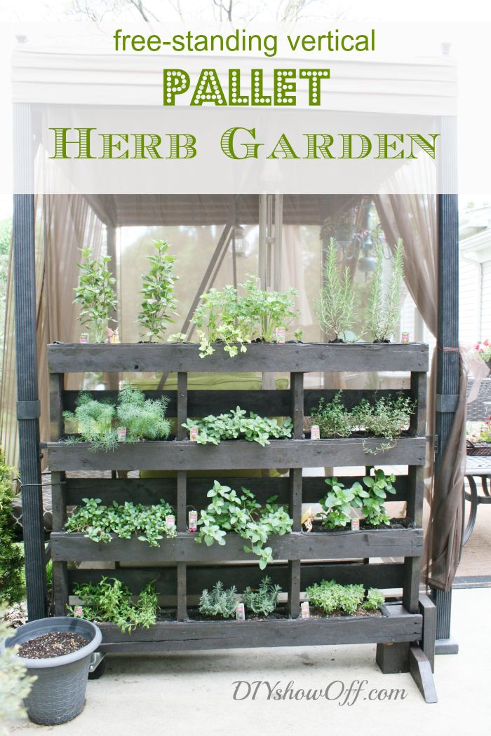 Improve your patio's look AND save some space in your garden. Try constructing this free-standing pallet herb garden by DIY Showoff. If you want, change things up and grow flowers instead!