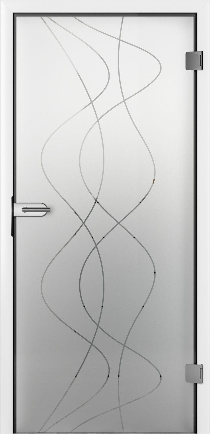 Unsere Glastuer Jil. Mit den verschlungenen Linien zeigt sie einen verspielten Look auf unserer satinierten Türoberfläche