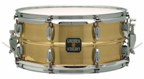 "Gretsch 6.5"" x 14"" Legend Snare Drum by Gretsch. $299.00. The Gretsch Legend snare drums build on classic brass shell traditions by combining time-tested features with contemporary drum making techniques.  All snares have 1.0mm beaded brass shell with 2.3mm triple-flanged hoops and include adjustable throw-off and Evans drum heads. Shells are finished in lacquer and have direct lug to shell contact without lug gaskets to allow for maximum tone.. Save 35%!"
