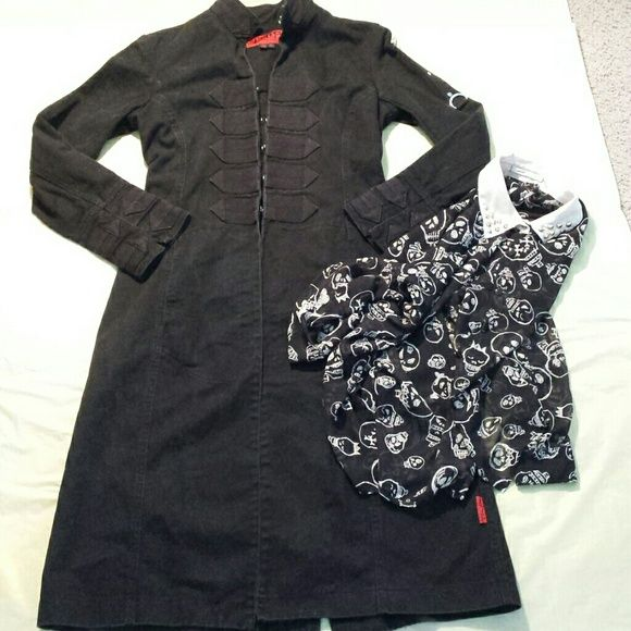 Tripp NYC Anarchy Black  Long Goth Cotton  Coat Goth vampire band long coat . Front hook and wrist closures  D ring  Detail .100% cotton shows a little bit of wear no stains or holes or rips armpit to armpit is 18.5 length 43 inches back hem vent 14 inches Tripp nyc Jackets & Coats