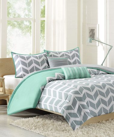 Loving this Grey & Mint Intelligent Design Nadia Duvet Cover Set on #zulily! #zulilyfinds