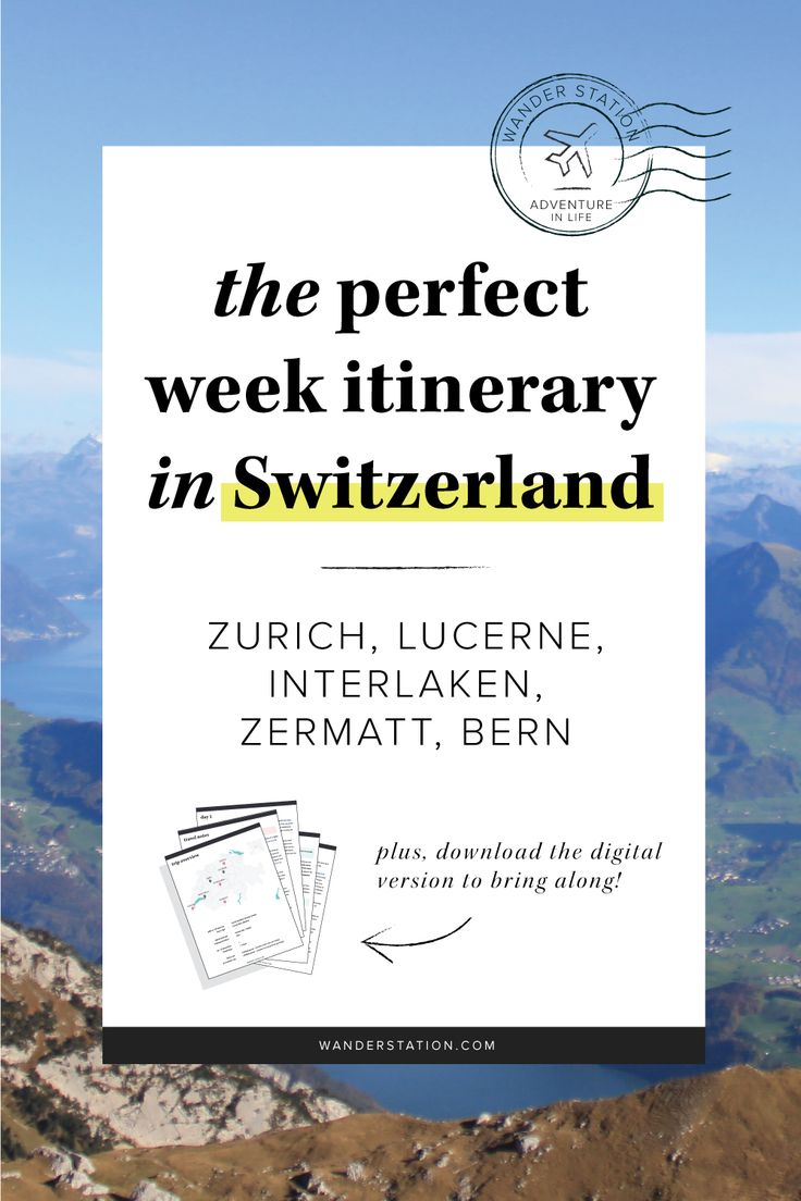 "The ultimate 1-week itinerary in beautiful Switzerland, including morning, afternoon, and evening schedules. Places of interest include: Zurich, Interlaken, Lucern, Bern, Zermatt, Montreux, and Geneva. Famous sights include Lake Zurich, Kapellbrucke (Chapel Bridge), Jungfraujoch (""Top of Europe""), Matterhorn, Chateau de Chillon, and more! PLUS, get this itinerary in digital PDF format to take along with your trip!"