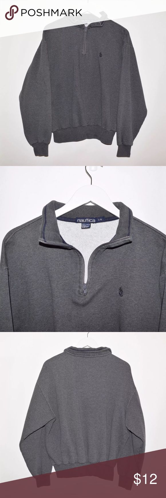 Nautica Half Zip Sweater Large Fits Like A Small Brand: Nautica Item name: Half Zip Pullover Sweater  		 Color: Grey Condition: This is a pre-owned item. It is in excellent used condition with no stains, rips, holes, etc. Comes from a smoke free household. Size: Men's Large (TAGGED LARGE BUT MEASUREMENTS ARE EQUIVALENT TO A MEN'S SIZE SMALL.)  Measurements:  Pit to Pit - 24 inches Neckline to bottom - 24 inches Nautica Sweaters Zip Up