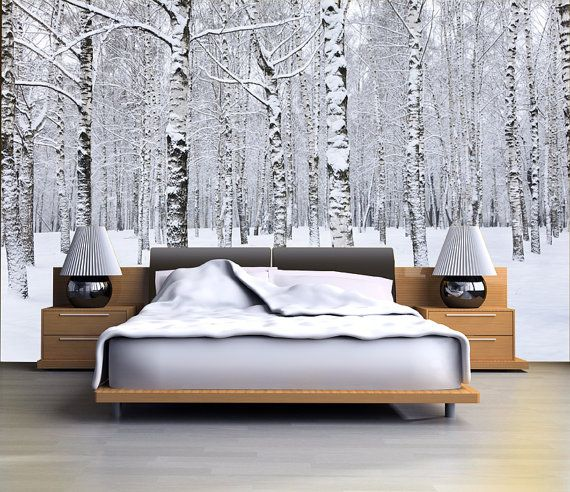 Birch tree forest in winter mural, repositionable peel & stick wall paper, wall covering