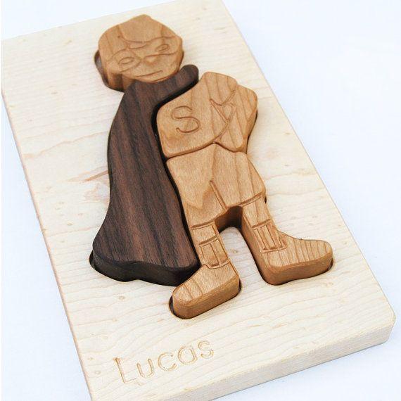 Personalized Toy Super Boy Puzzle organic chunky by manzanitakids, $36.00