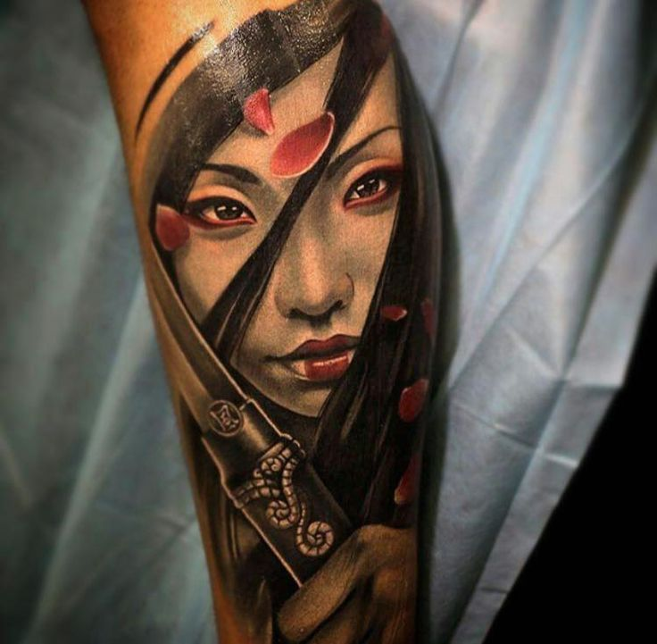 New school style colored forearm tattoo of beautiful - Tattoos geishas japonesas ...