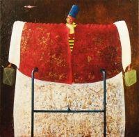 """A. Palazzini, """"Petroliere americano del XIV secolo"""", 2012, oil on canvas, cm 80 x 80"""