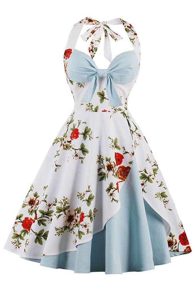 Blue and White Vintage Floral Dress