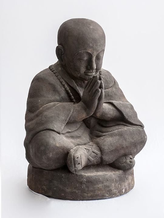 Buddhist Monk Statue - Grey Stone Find more at www.decord.gr #serenity #harmony #Buddha #spiritual #objects #Bali #energy