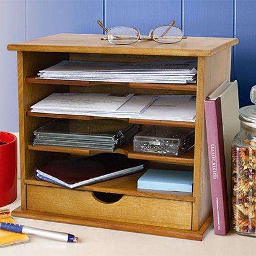 Desktop Bamboo Mail Organizer  Desktop Mail Organizer For Kitchen