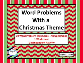 This freebie will get your students solving and writing word problems related to Christmas. There are 10 task cards that include addition, subtraction, multiplication, or division. Each has a cute, colorful Christmas graphic. Follow up with a worksheet that includes the four