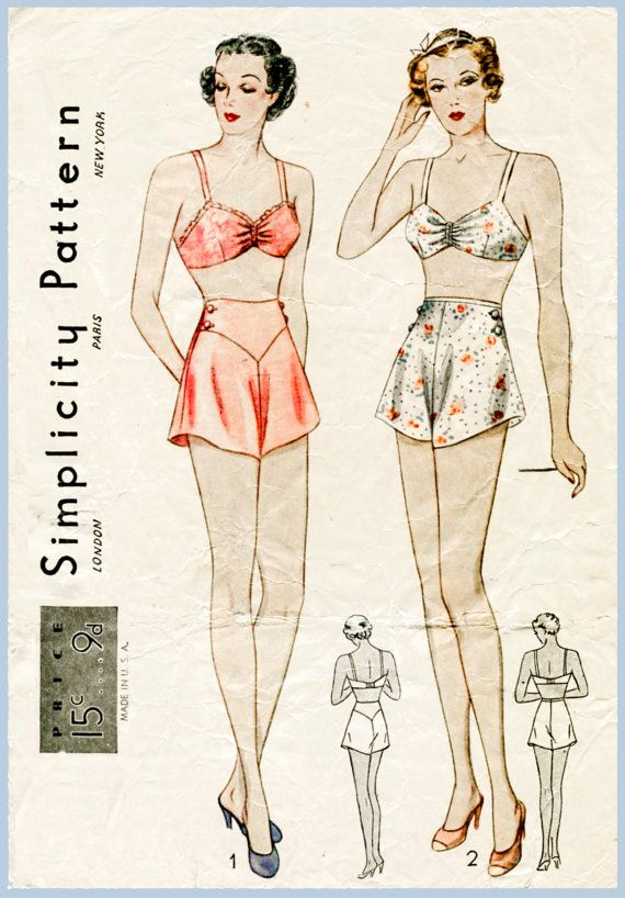 vintage lingerie sewing pattern 1930s 30s bra and tap shorts bust 38 b38 bust 40 b40 repro reproduction