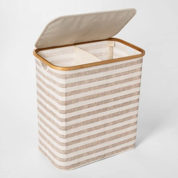 Soft Sided Laundry Hamper With Bamboo Rim Lid Striped Beige Threshold Target Laundry Hamper Hamper Laundry Hamper With Lid