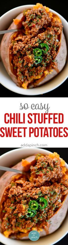 Chili Stuffed Sweet Potatoes Recipe - Chili Stuffed Sweet Potatoes makes a quick and easy meal! Ready and on the table in 30 minutes or a great make-ahead meal for even easier weeknights! // addapinch.com
