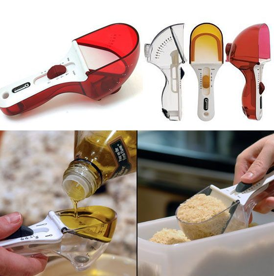 Nifty Kitchen Gadgets, including this super cool adjustable measuring cup.