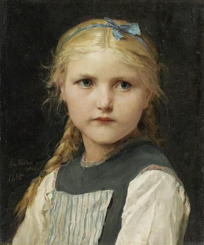 Portrait of a girl - Albert Anker  -  Completion Date: 1885