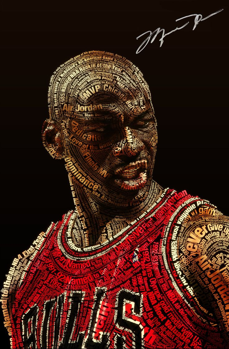 The words form a picture of Micheal Jordan and the words describe him and his accomplishments