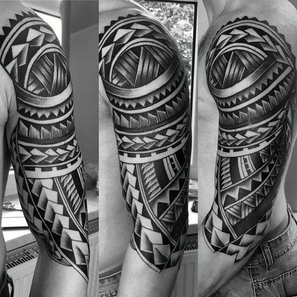 50 Polynesian Half Sleeve Tattoo Designs For Men Tribal Ideas Half Sleeve Tribal Tattoos Tribal Tattoos Half Sleeve Tattoos Designs
