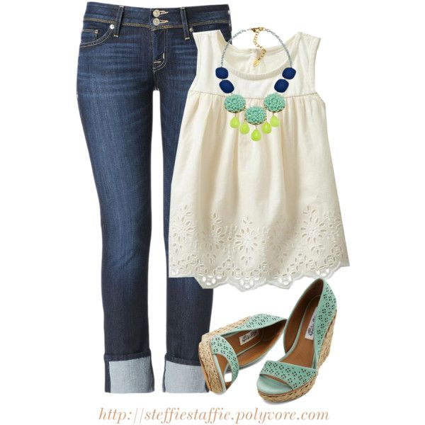 """Eyelet Tank, Mint Wedges & Flower Necklace"" by steffiestaffie on Polyvore"