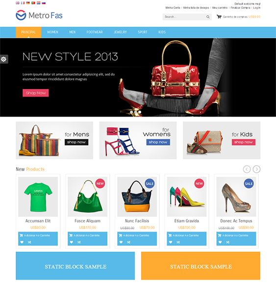 This Metro style Magento theme has a responsive layout, 6 preset skins, Ajax add to cart, Facebook and Twitter integration, a dropdown shopping cart, a homepage slider, unlimited colors, Cloud Zoom images, a brand logo slider, and more.