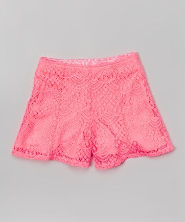 Take a look at this Neon Pink Lace Shorts on zulily today!